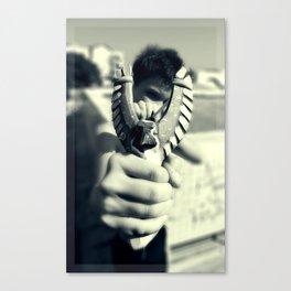 Boy with a slingshot Canvas Print