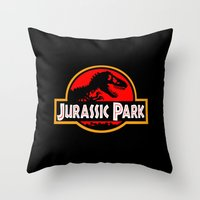 jurassic park Throw Pillows featuring Jurassic Park by MrWhite