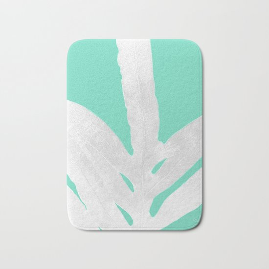 Green Fern on Ice Mint Green Inverted Silver Bath Mat