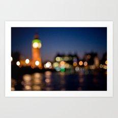 London by night bokeh Art Print