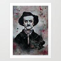 edgar allan poe Art Prints featuring Edgar Allan Poe by Bella Harris