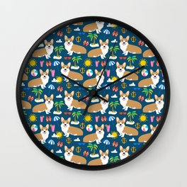 Corgi Beach summer fabric - cute dogs design Wall Clock