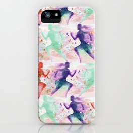 Watercolor women runner pattern with red mint and dark purple iPhone Case