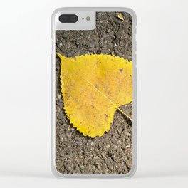 Yellow Leaf Clear iPhone Case