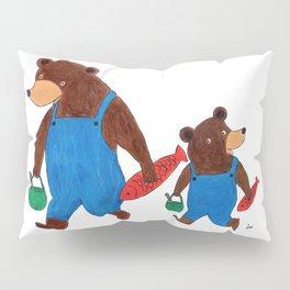 Papa Bear and Little Bear Going for a Picnic - Children's Illustration Pillow Sham