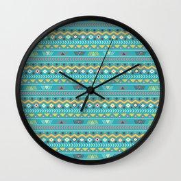 Geometrical teal orange colorful tribal aztec Wall Clock