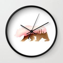 Bear - Desert and Cactuses - California Flag Wall Clock