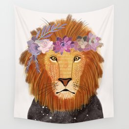 Lion with flowers on head Wall Tapestry