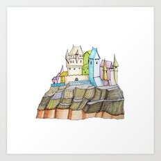 fairytale castle on a cliff Art Print