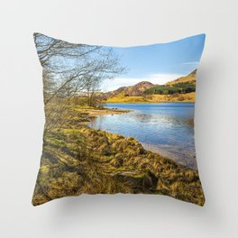 The shores of Loch Earn Throw Pillow