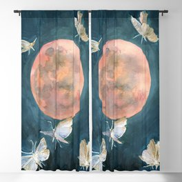 Drop of Red, Blood Full Moon, Night Sky Blackout Curtain