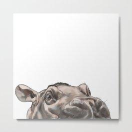 Peeking Baby Hippo Metal Print