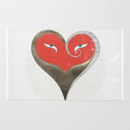"""Crimson & Gold Heart"" Art Deco Design by Erté Rug"