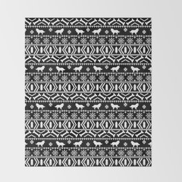 Border Collie fair isle christmas black and white holiday sweater dog breed gifts Throw Blanket
