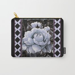 WHITE & BLACK  ART OF WHITE ROSES PATTERN Carry-All Pouch