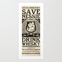 whisky Art Prints featuring Save Nessie, Drink Whisky! by stieven