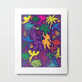 Carnival Samba Dancers Tropical Tree Leaves Contemporary Pop Art Metal Print