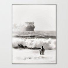 B&W Beach Scene 4 Canvas Print