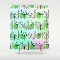 woodland Shower Curtains featuring Woodland  by Yaz Raja Designs