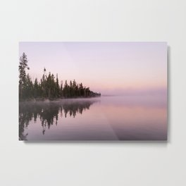Mist on Yellowstone Lake Metal Print