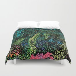 cheerful handmade embroidery in the digital world Duvet Cover