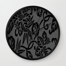 Slate Gray & Black Japanese Leaf Pattern Wall Clock