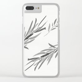 Eucalyptus leaves black and white Clear iPhone Case