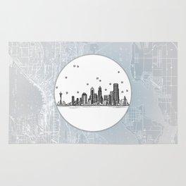 Seattle, Washington City Skyline Illustration Drawing Rug