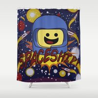 spaceship Shower Curtains featuring Spaceship!  by Brieana