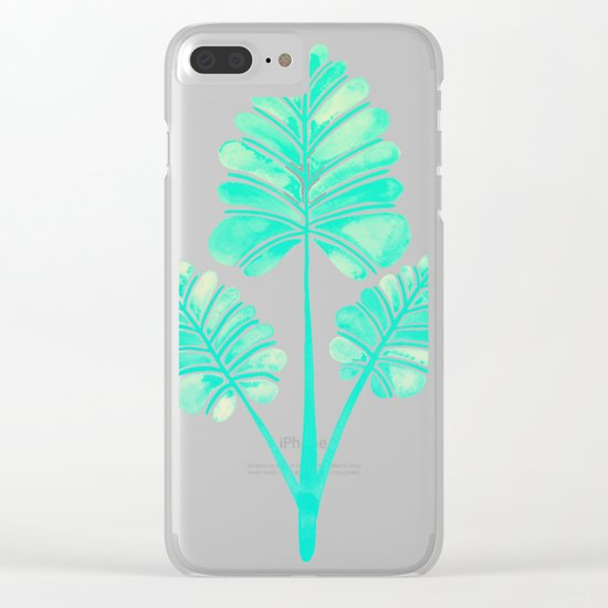 Tropical Palm Leaf Trifecta – Turquoise Palette Clear iPhone Case