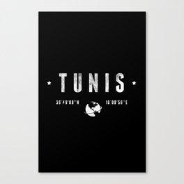 Tunis geographic coordinates Canvas Print
