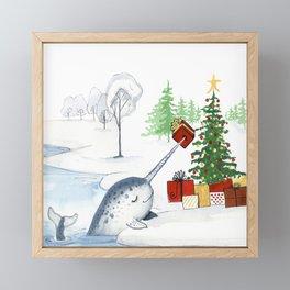 Christmas Narwhal Framed Mini Art Print