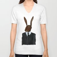 lynch V-neck T-shirts featuring David Lynch | Rabbit by FAMOUS WHEN DEAD