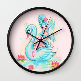 Blue Swan Fairy Wall Clock