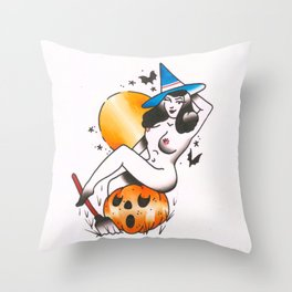pinup witch  Throw Pillow