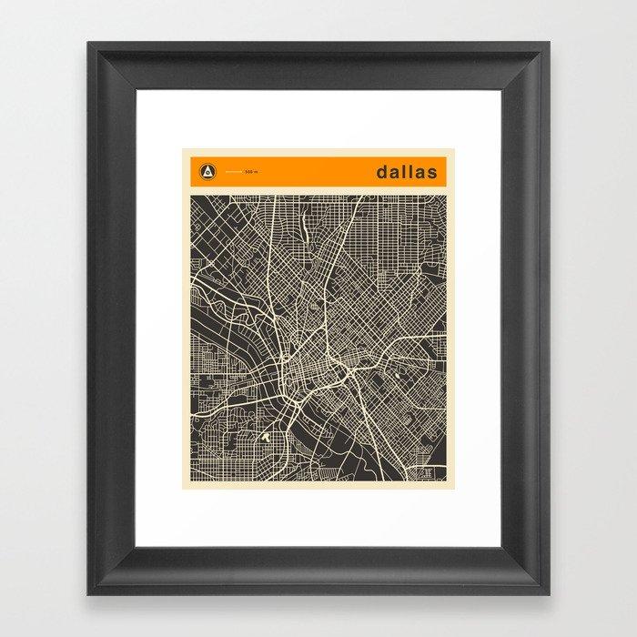 DALLAS MAP Framed Art Print