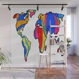 Rainbow World Map Wall Mural