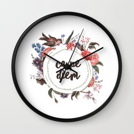 Carpe Diem Flower Wall Clock