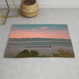 Burlington Vermont Breakwater Lighthouse View of New York State New England Rug