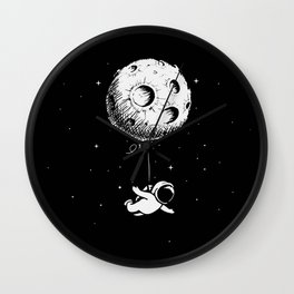 Astronaut flies with a Moon Wall Clock