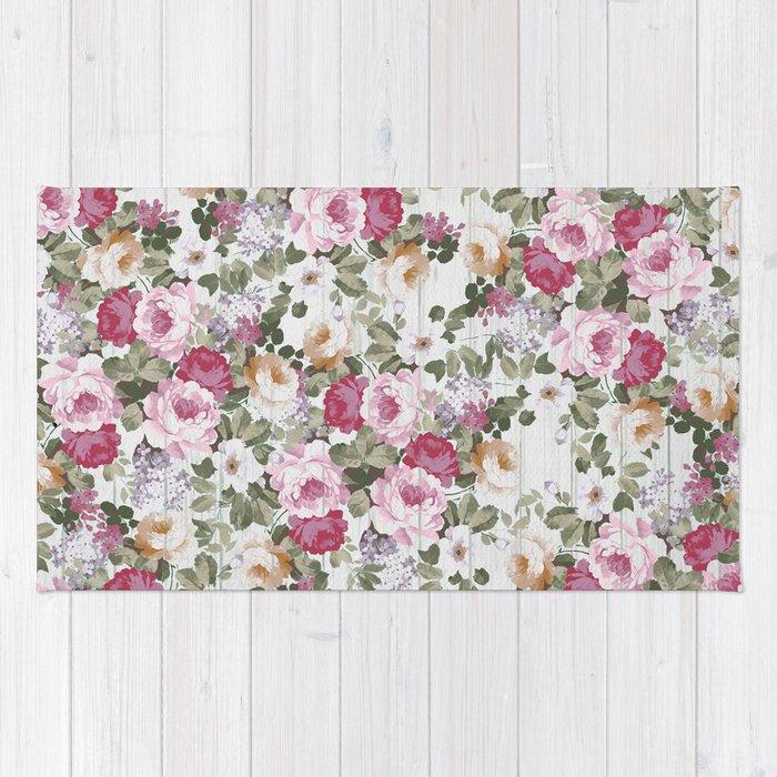 Vintage rustic white wood blush pink floral rug by pinkwater society6 vintage rustic white wood blush pink floral rug mightylinksfo