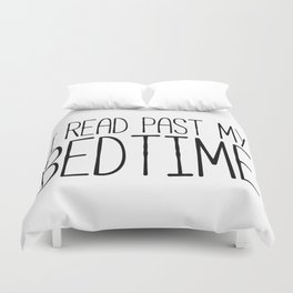 I read past my bedtime - Black and white (inverted) Duvet Cover