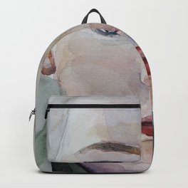 watercolor art portrait blonde kid Backpack