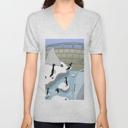 A Day With The Penguins ^_^ Unisex V-Neck