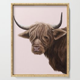 highland cattle portrait Serving Tray