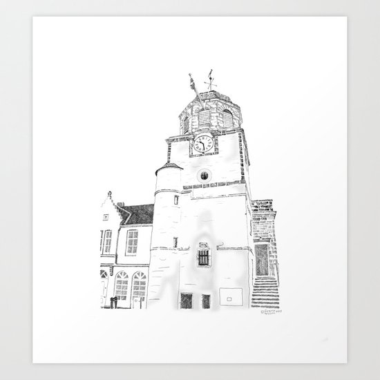 Tollbooth on Dysart High Street, Fife in Scotland Art Print
