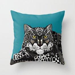 snow leopard teal Throw Pillow