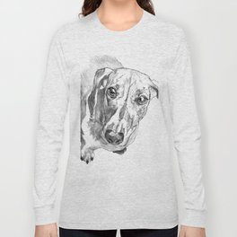 Dachshund Portrait in Black and White Long Sleeve T-shirt