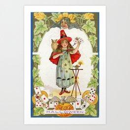 The Little Witch / Nash Vintage Postcard 1900s Art Print