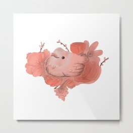 Sweet peach floral bird heart Metal Print